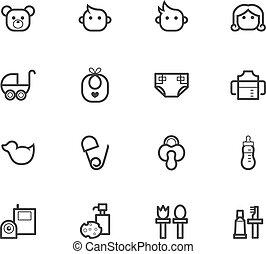 baby stuff black icon set