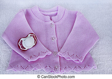 Set for newborn girl with rose knitted blouse and dummy