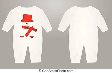 Baby suit with snowman illustration