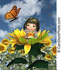 Baby Sunflower Fairy with Blue Sky