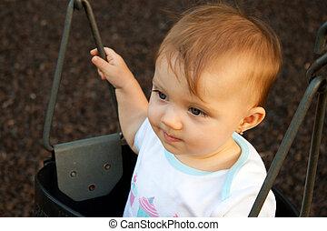 Baby Swing Stare Straight