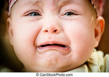 baby, tårer, -, græderi