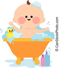 Baby taking a bath. Vector illustration