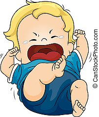 Baby Tantrum - Illustration Featuring a Baby Throwing a...