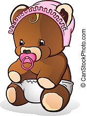 Baby Teddy Bear Cartoon Character