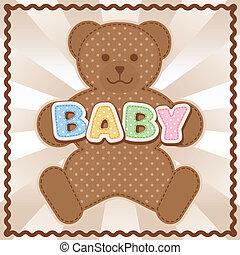 Baby Teddy Bear - Polka dot teddy bear, baby block letters,...