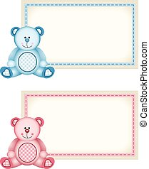 Baby teddy bear pink and blue tag