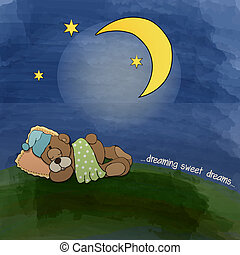 baby teddy bear sleeping on grass