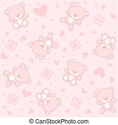 baby, teddybär, m�dchen, seamless