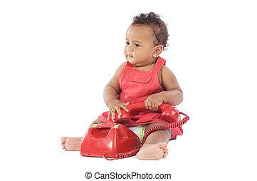 baby, telefoon, rood