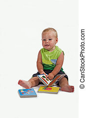baby telling story - little boy tell a story from baby book...