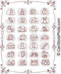 baby-theme, dessin animé, icônes