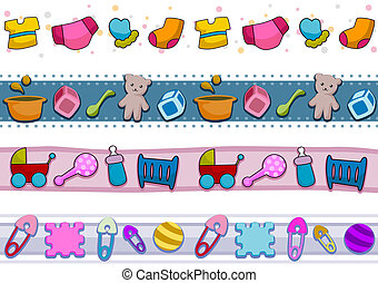 Four Border Designs Featuring Baby Things