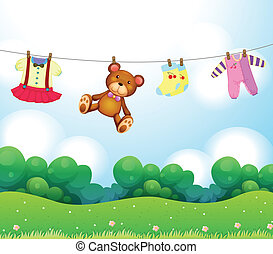 Baby things hanging - Illustration of the baby things...