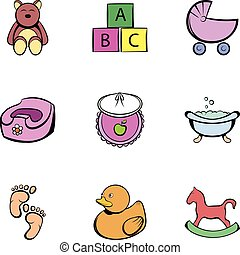 Baby things icons set, cartoon style