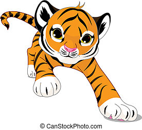 baby, tiger, rennende