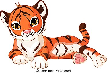 Baby Tiger - Illustration of cute baby tiger lies