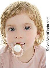 baby toddler, blond haar, blauwe ogen, en, pacifier
