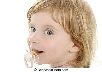 Baby toddler blond hair blue eyes and pacifier over white...