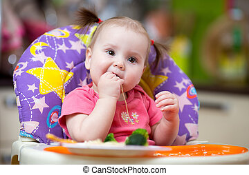 baby toddler eating in chair