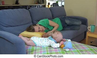 baby, toneelstuk, slaap, moeder
