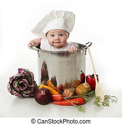 baby, topf, kochen