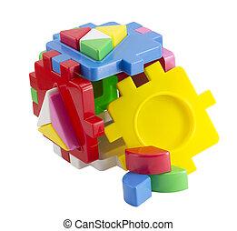 baby toy blocks isolated on white background