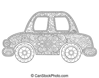 Baby toy car Coloring book vector for adults - Baby toy car...