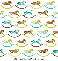Baby Toy Horse Background - for design, scrapbook - in vector