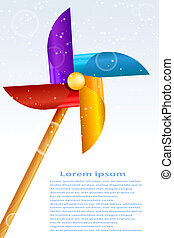 Baby toy pinwheel on a blue background. Vector illustration