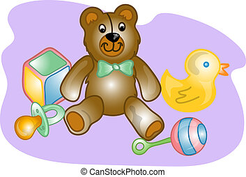 Baby toy set illustration - Illustrations of different baby...