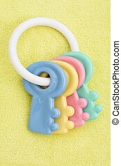 Baby Toy - Yellow baby facecloth with baby toy keys