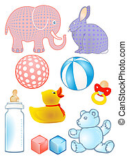Baby toys and baby bottle