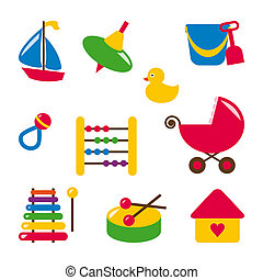 baby toys - bucket, duck, xylophone, boat, top, rattle, abacus, buggy, drum, dollhouse