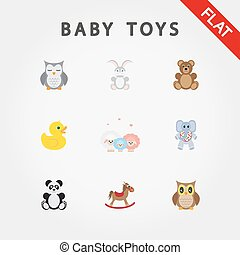 Baby toys. Cute little animals.