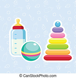 Baby toys - Baby bottle, ball and pyramid. Vector Stickers