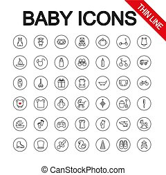 Baby toys, feeding and care. Universal Icons. Vector. Editable Thin line.