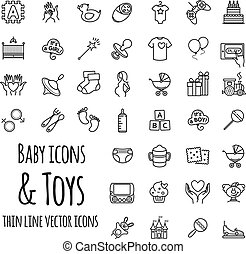 baby, toys, games, feeding and care vector icons set