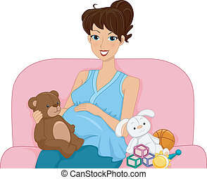 Baby Toys - Illustration Featuring a Pregnant Woman...