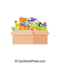 Baby toys in box. Vector illustration in flat design.