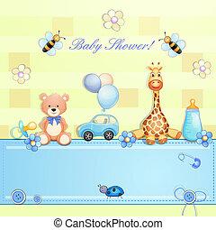 baby, toys., kaart, douche