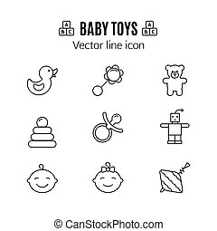 Baby toys thin line icon. Outline symbol kid plaything for games to design for the design of children's website, clinic and mobile applications. Simple baby vector sign on white background. Robot, teddy bear, rattle, yule and others kid pictograms