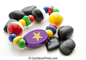 Baby toys with black stones
