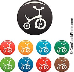 Baby tricycle icons set color - Baby tricycle icons set 9...