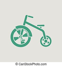 Baby trike ico. Gray background with green. Vector...