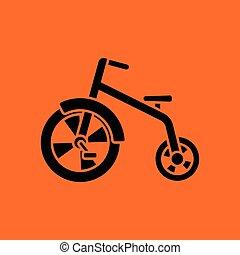 Baby trike ico. Orange background with black. Vector...