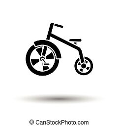 Baby trike ico. White background with shadow design. Vector...