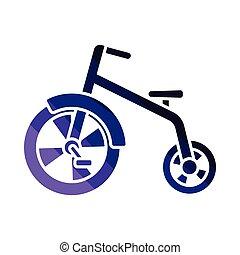 Baby trike icon. Flat color design. Vector illustration.