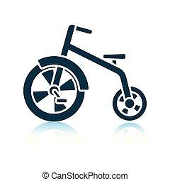 Baby trike icon. Shadow reflection design. Vector...