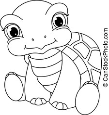Baby Turtle Coloring Page - Baby turtle sits on a white...